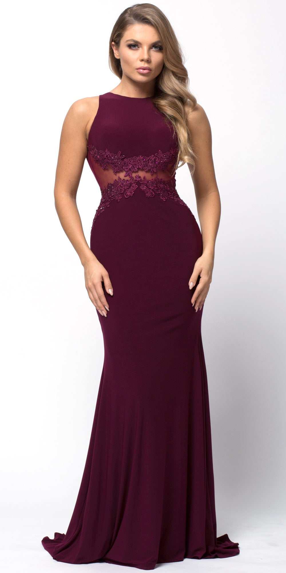 Image of Lace Accent Sheer Waist Long Formal Evening Jersey Dress in Burgundy