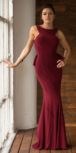 Image of Ruffled Back Fit-n-flare Long Formal Evening Jersey Dress in Burgundy