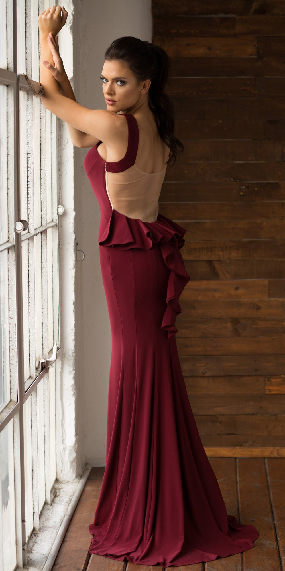 Back image of Ruffled Back Fit-n-flare Long Formal Evening Jersey Dress