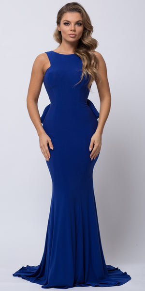 Main image of Ruffled Back Fit-n-flare Long Formal Evening Jersey Dress