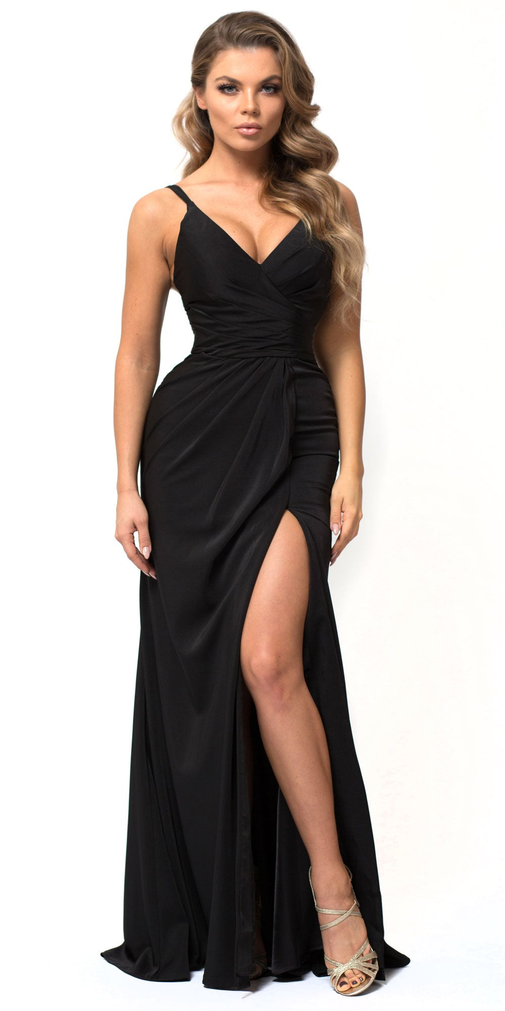 Image of Double Spaghetti Straps Overlay Bodice Long Bridesmaid Dress in Black