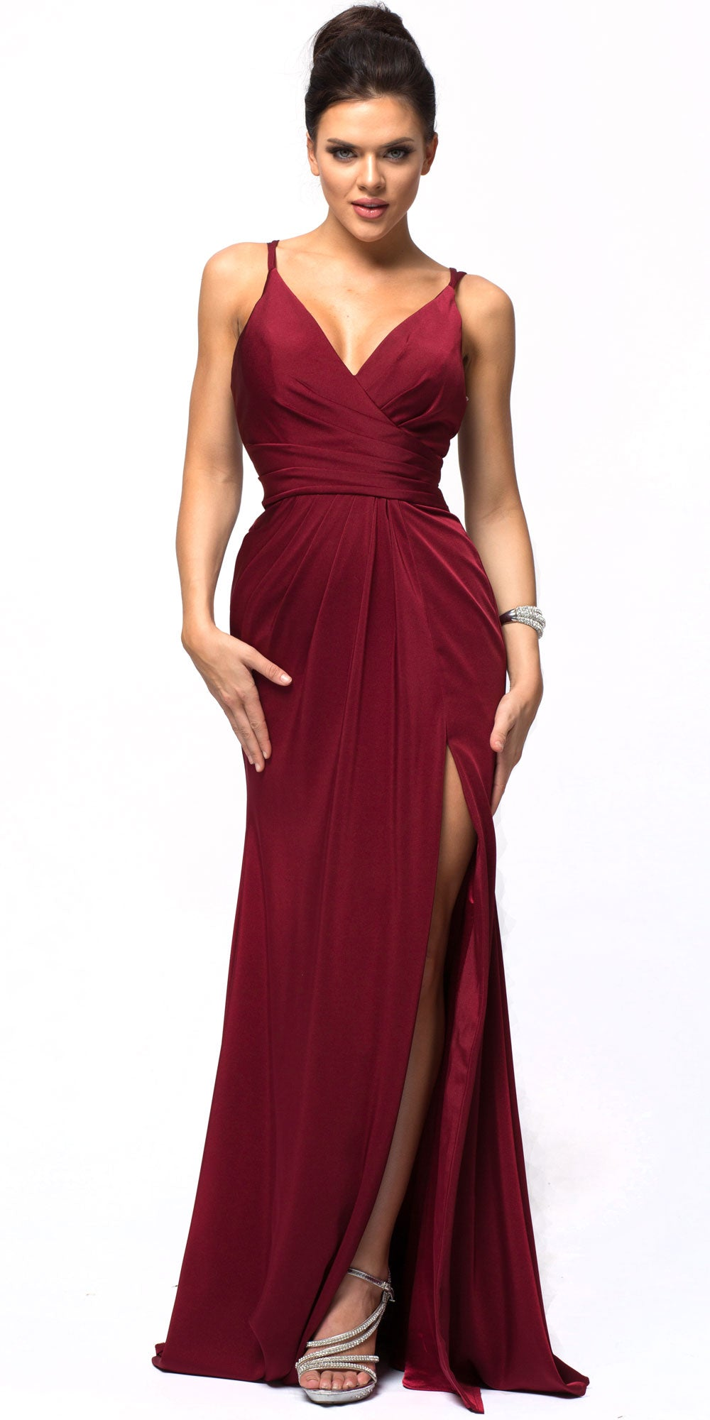 Image of Double Spaghetti Straps Overlay Bodice Long Bridesmaid Dress in Burgundy