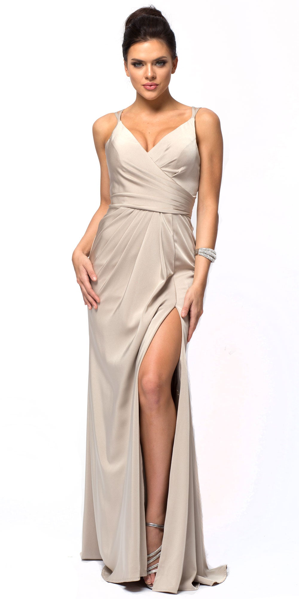 Image of Double Spaghetti Straps Overlay Bodice Long Bridesmaid Dress in Champaign