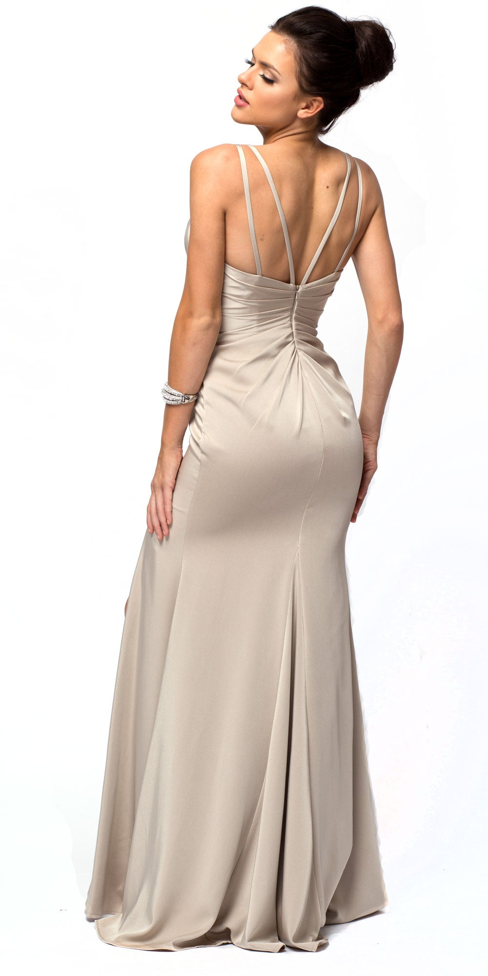 Back image of Double Spaghetti Straps Overlay Bodice Long Bridesmaid Dress