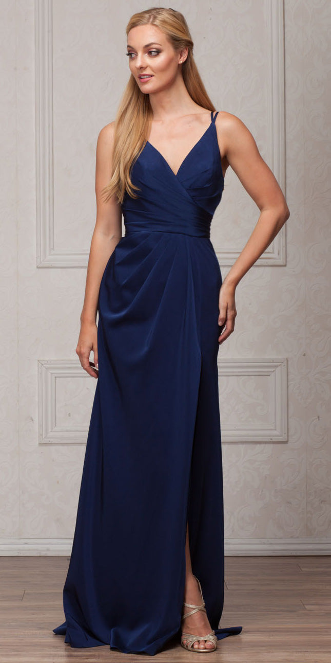 Main image of Double Spaghetti Straps Overlay Bodice Long Bridesmaid Dress