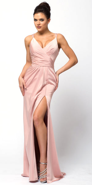Image of Double Spaghetti Straps Overlay Bodice Long Bridesmaid Dress in Rose