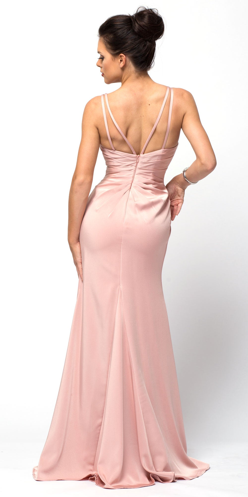 Image of Double Spaghetti Straps Overlay Bodice Long Bridesmaid Dress back in Rose
