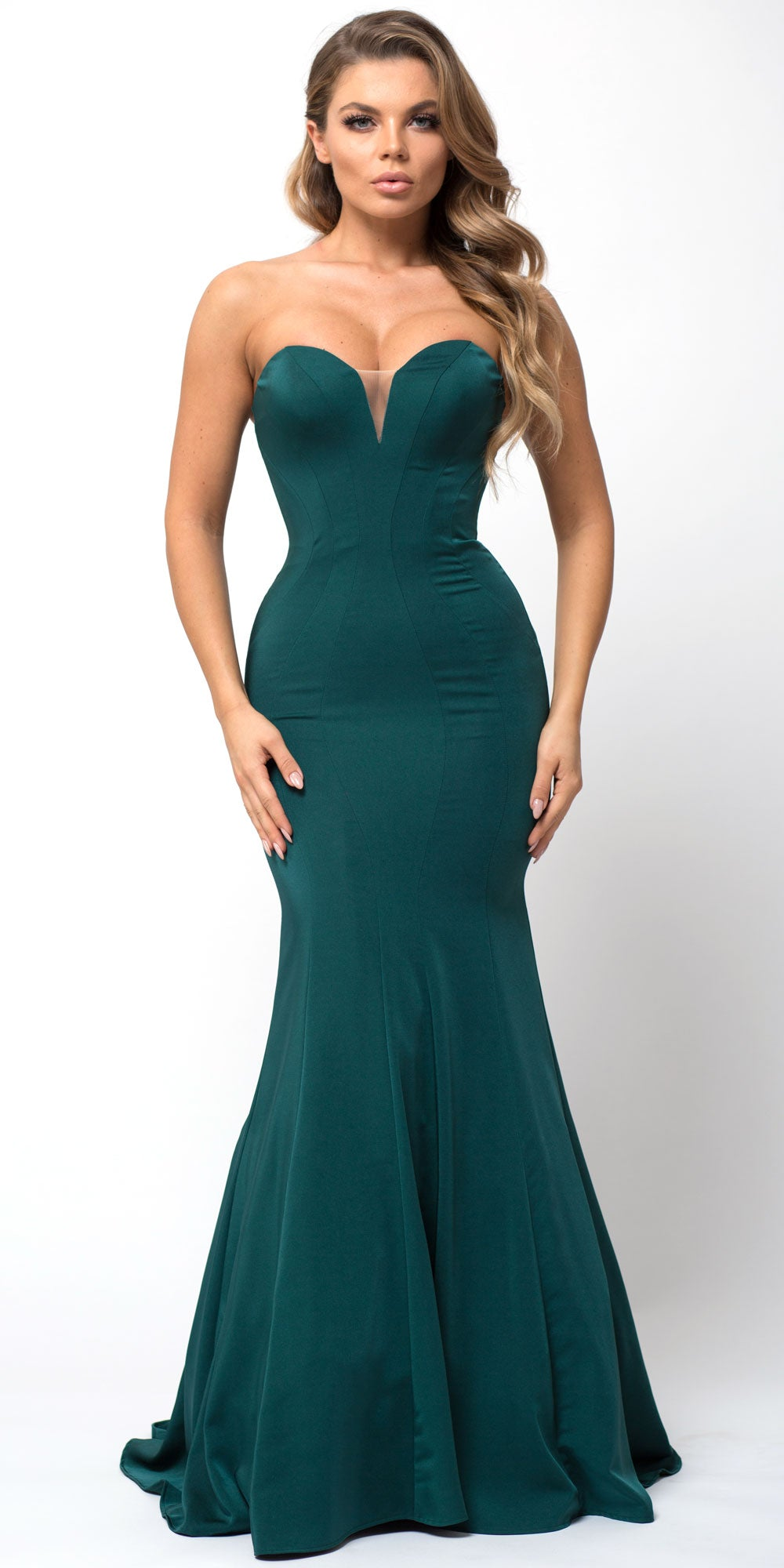 Image of Classic Strapless Mermaid Cut Fit-n-flare Long Prom Dress in Emerald Green