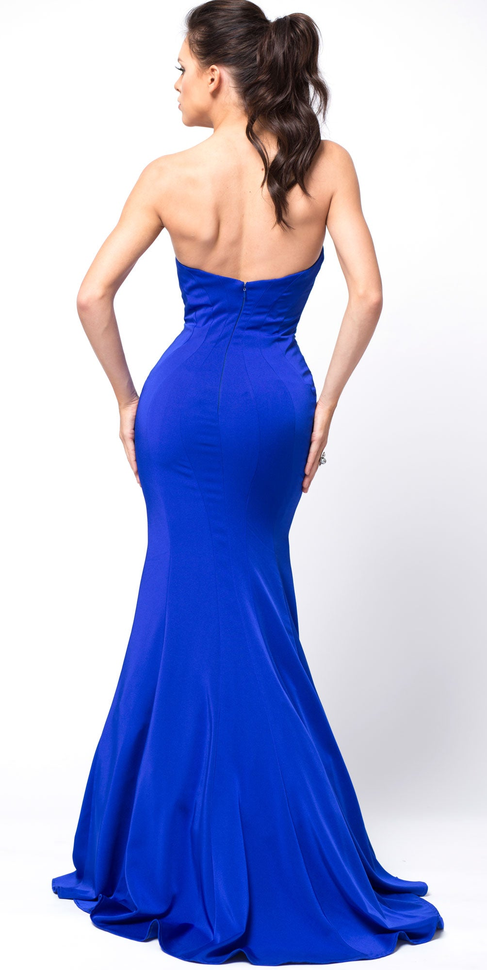 Back image of Classic Strapless Mermaid Cut Fit-n-flare Long Prom Dress