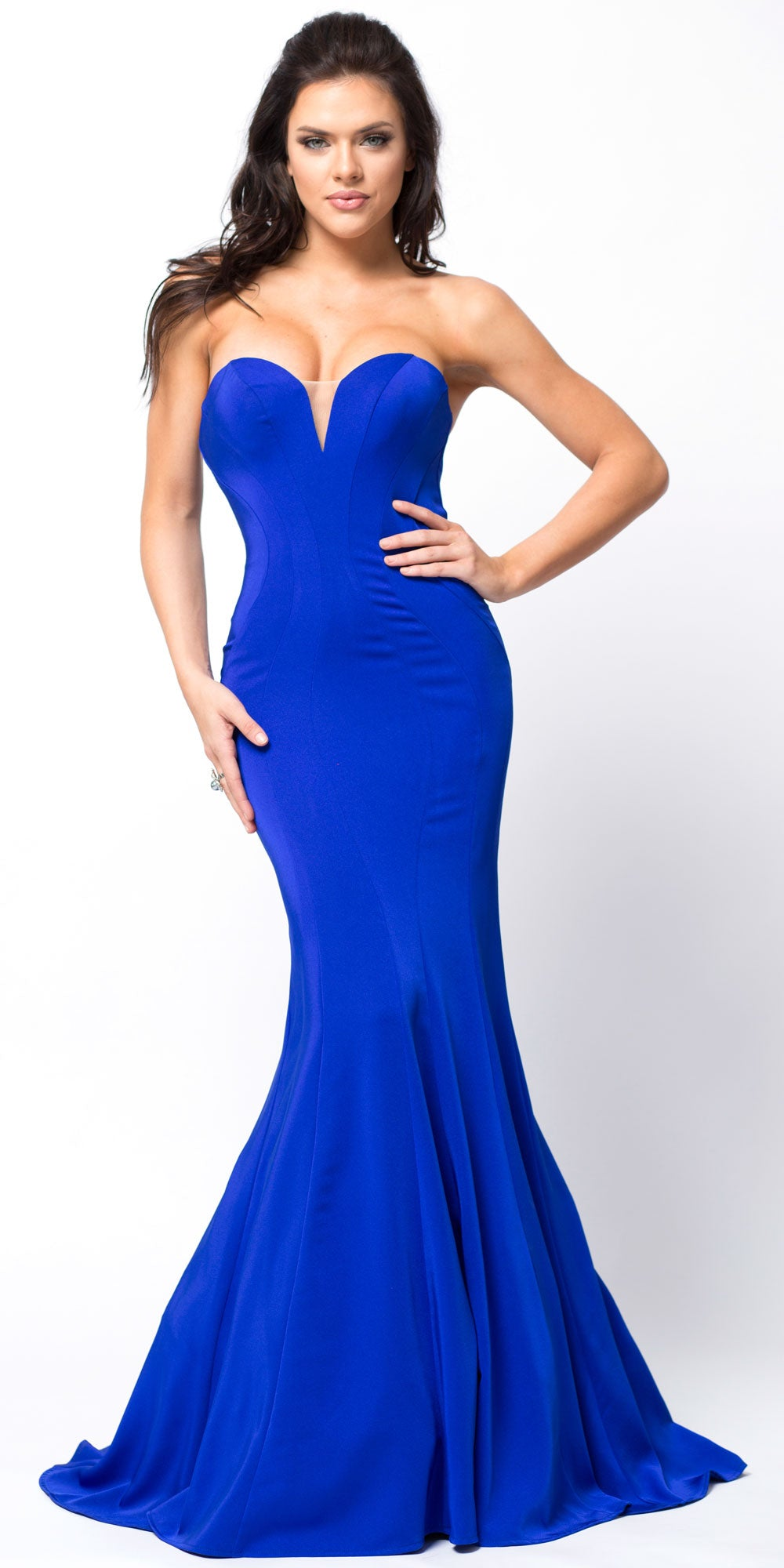 Main image of Classic Strapless Mermaid Cut Fit-n-flare Long Prom Dress