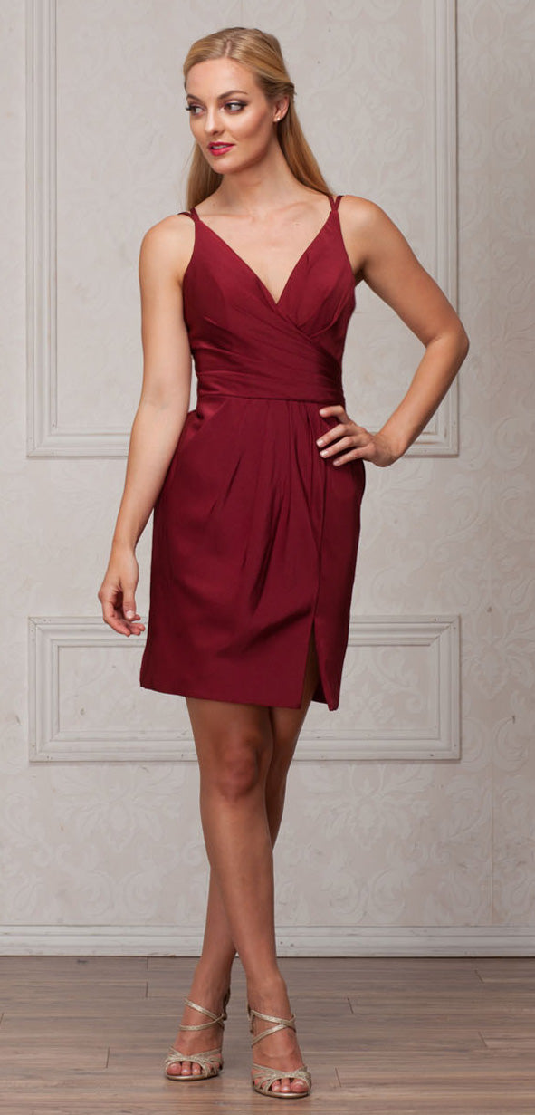 Image of V-neck Spaghetti Straps Shirred Short Bridesmaid Dress in Burgundy