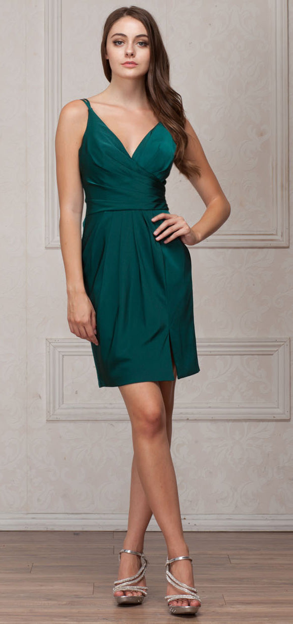 Image of V-neck Spaghetti Straps Shirred Short Bridesmaid Dress in Emerald Green