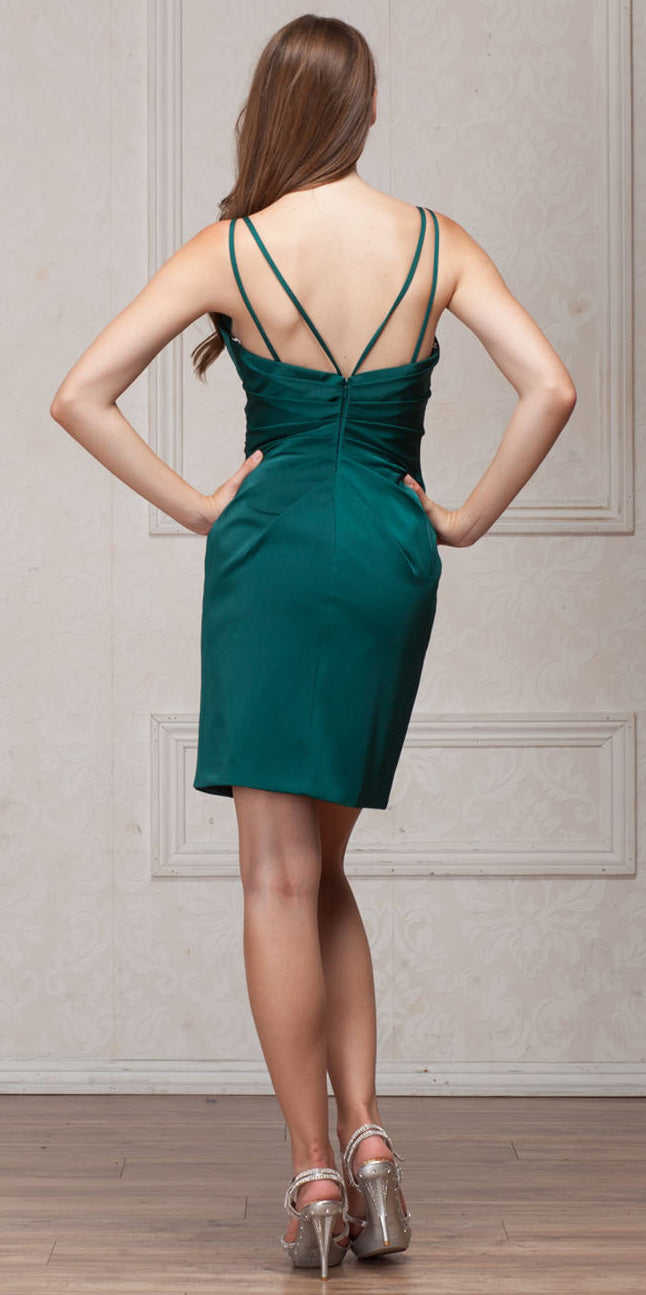 Back image of V-neck Spaghetti Straps Shirred Short Bridesmaid Dress