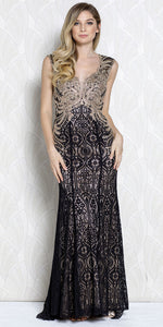 Main image of Gold Lace Accent Artistic Pattern Long Prom Pageant Dress