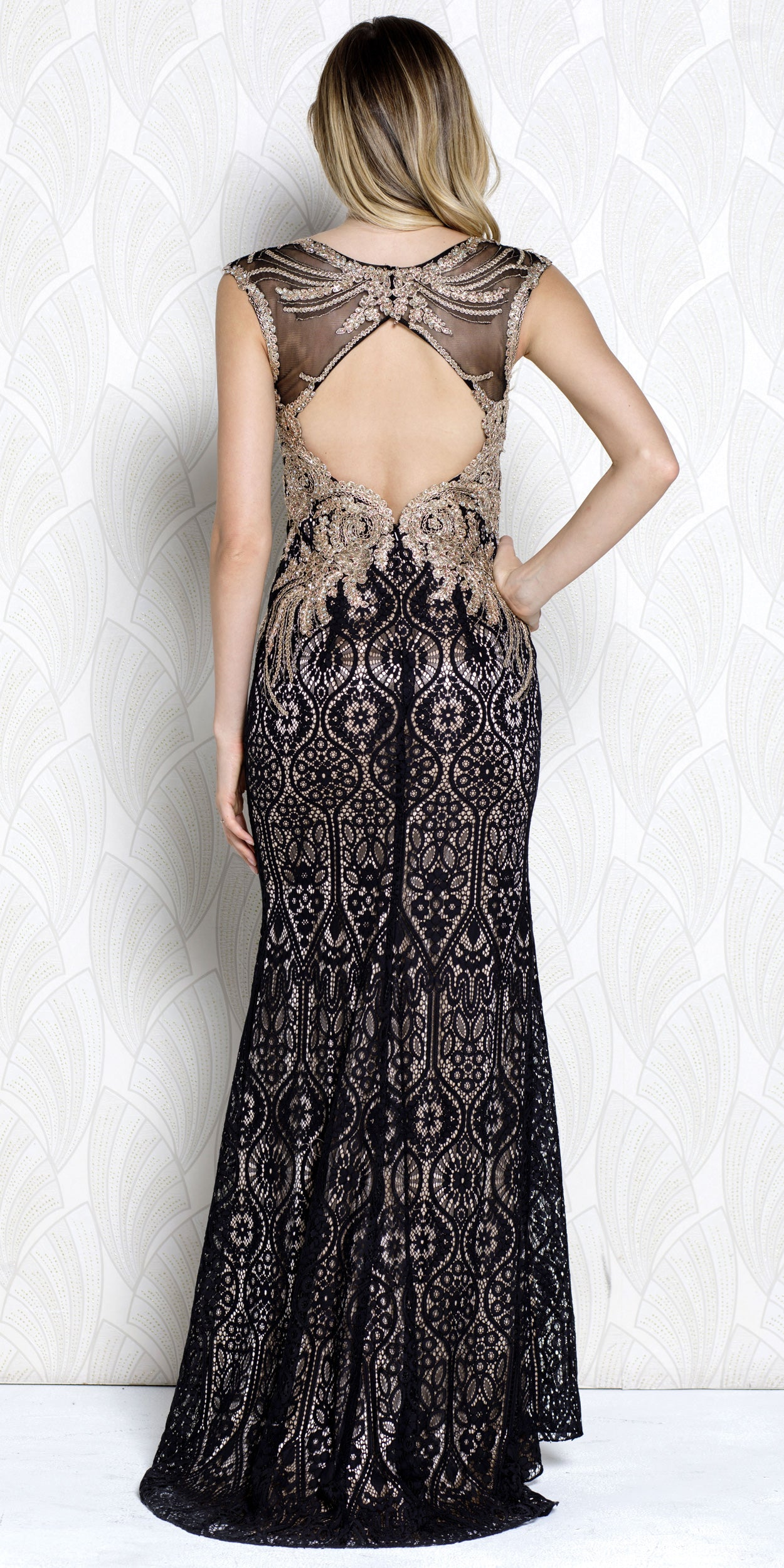 Back image of Gold Lace Accent Artistic Pattern Long Prom Pageant Dress