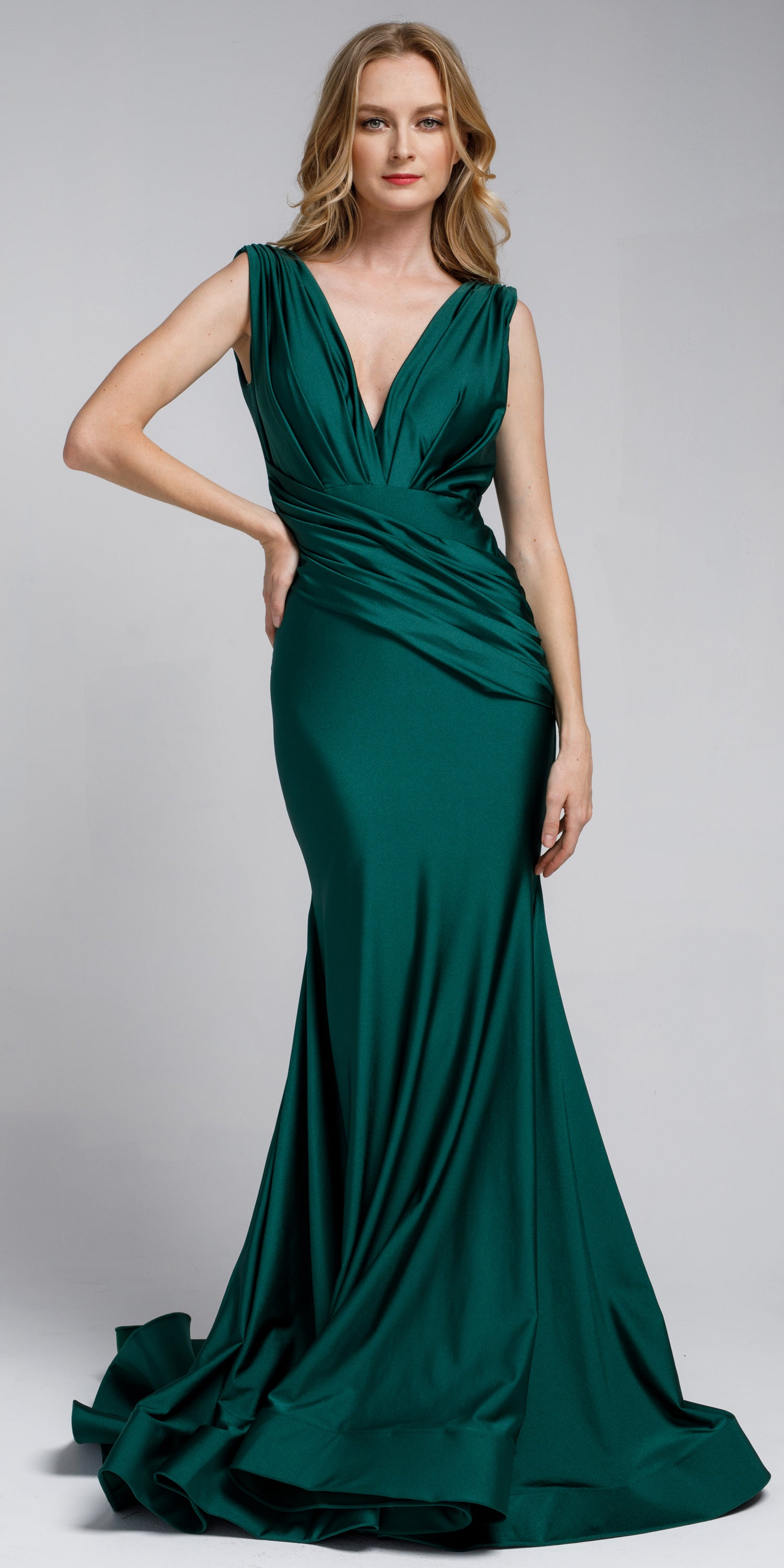 Main image of Satin Fitted V Neck Prom Dress