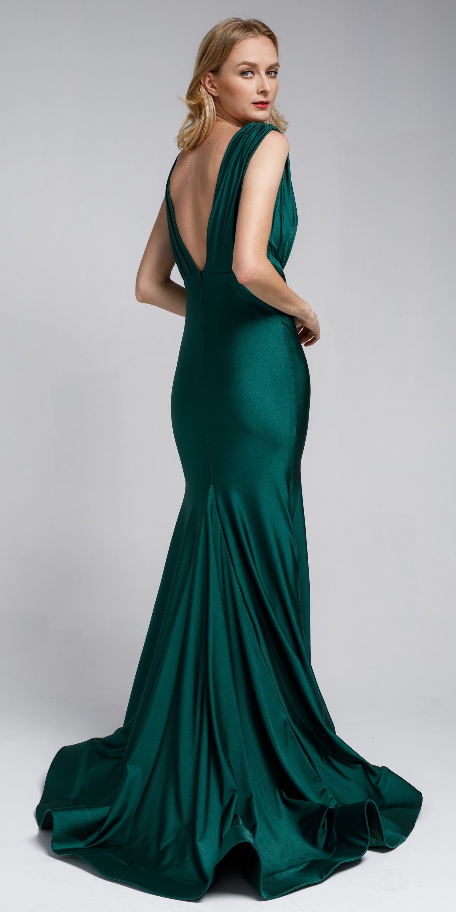 Back image of Satin Fitted V Neck Prom Dress
