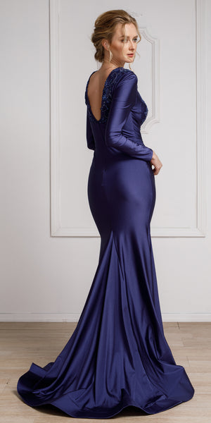 Image of Fitted & Embellished Full Sleeve Prom Gown back in Navy