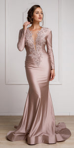 Main image of Fitted & Embellished Full Sleeve Prom Gown