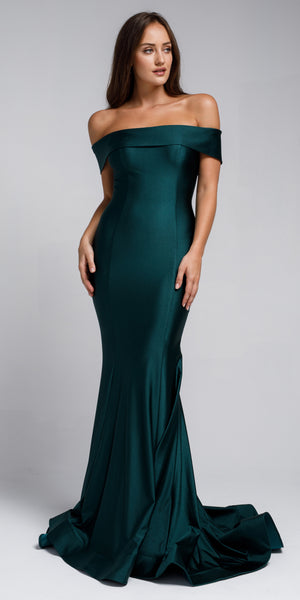 Image of Off Shoulder Fitted Prom Gown in an alternative image