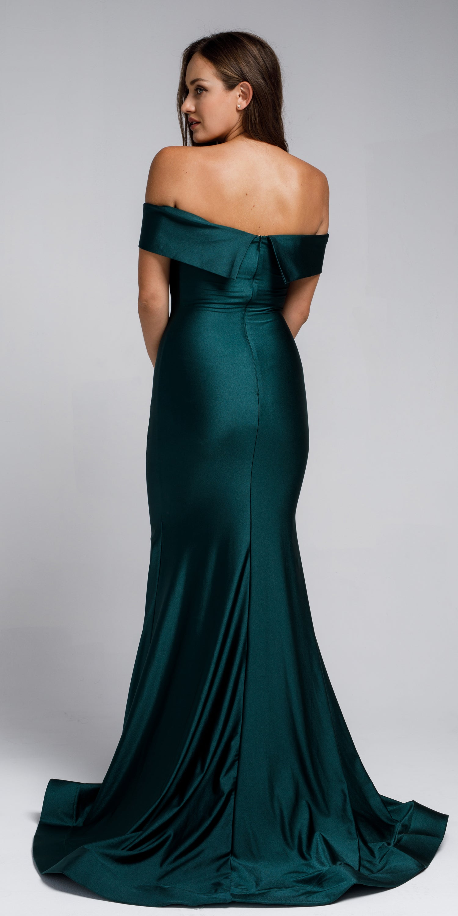 Back image of Off Shoulder Fitted Prom Gown