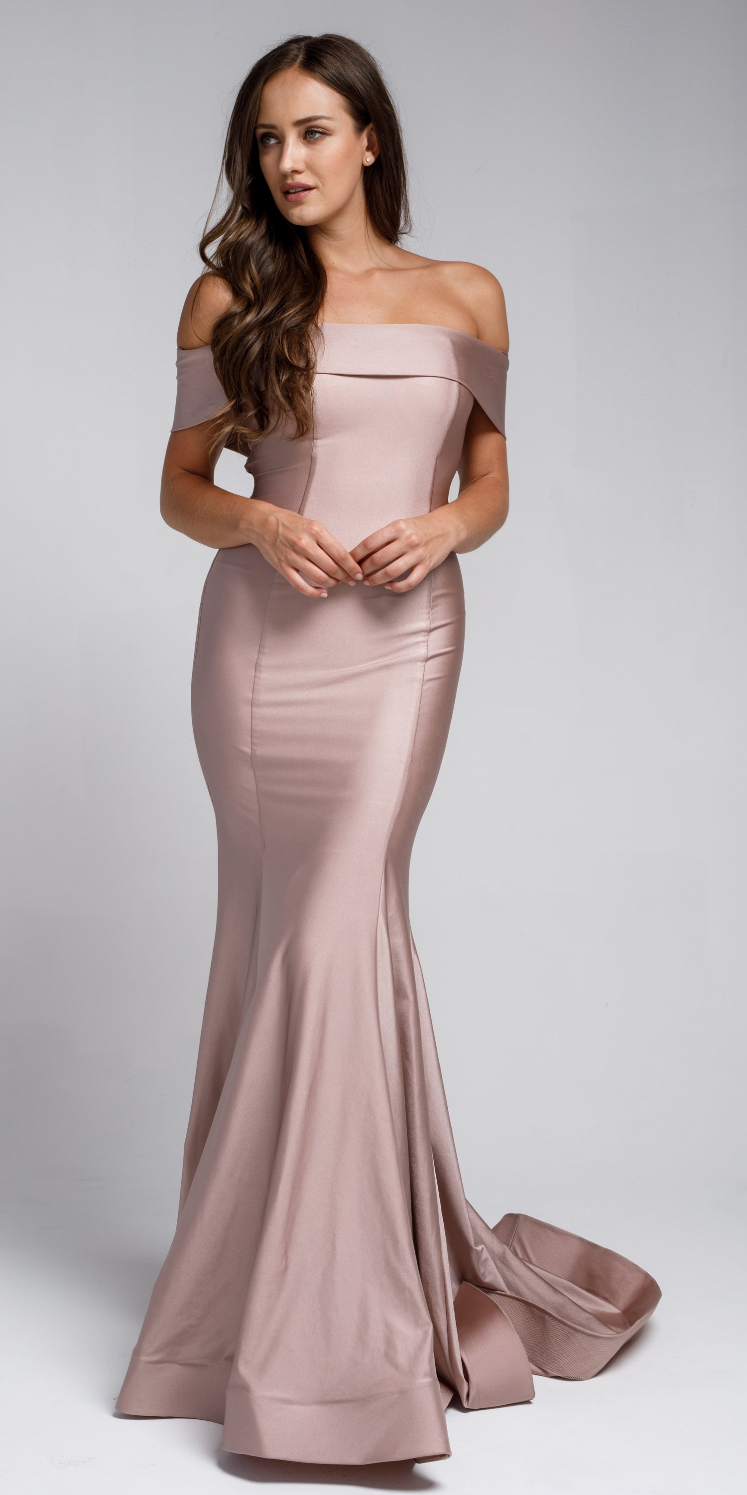 Image of Off Shoulder Fitted Prom Gown in Rose