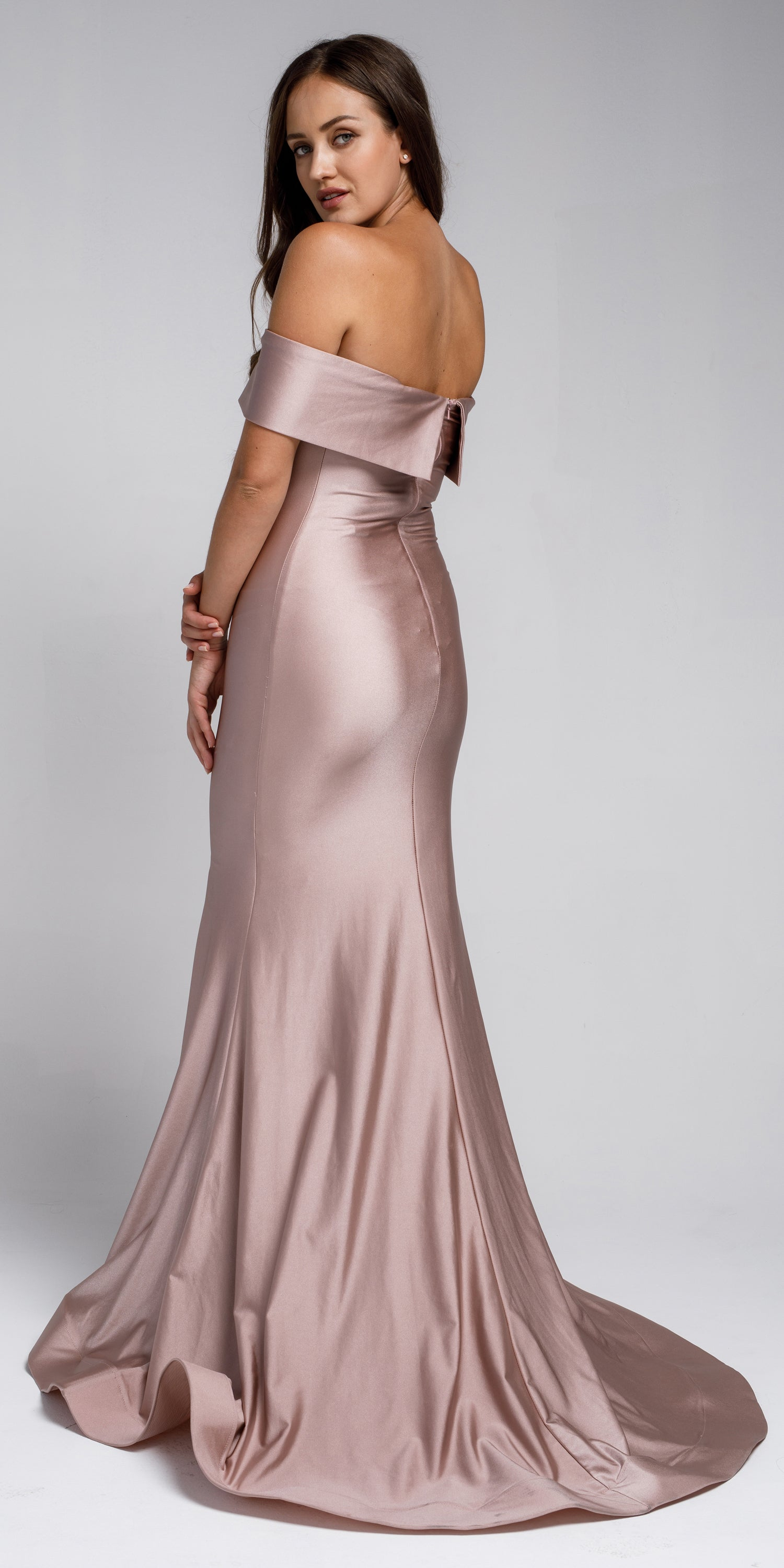 Image of Off Shoulder Fitted Prom Gown back in Rose