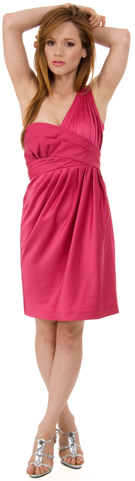 Image of Bridal Satin One Shoulder Cocktail Dress in Fuchsia