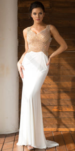 Image of V-neck Embellished Bodice Sheer Back Long Prom Dress in Off White