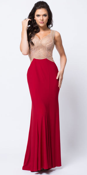 Main image of V-neck Embellished Bodice Sheer Back Long Prom Dress