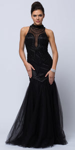 Main image of High Neck Beaded Bodice Mermaid Style Mesh Long Prom Dress