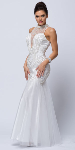 Image of High Neck Beaded Bodice Mermaid Style Mesh Long Prom Dress in Off White