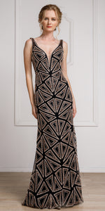 Main image of Decollete Neckline Geometric Prom Gown