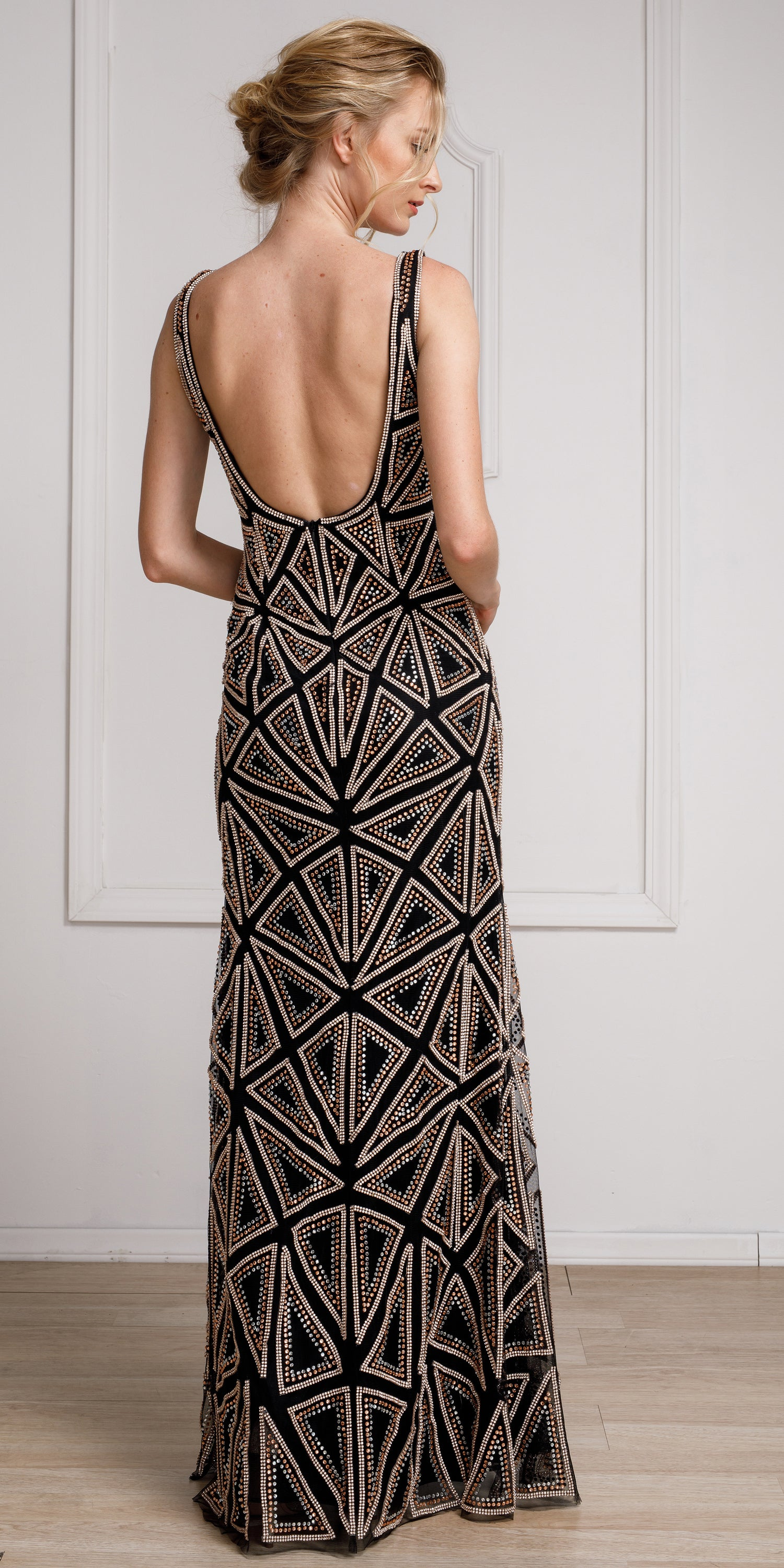 Back image of Decollete Neckline Geometric Prom Gown