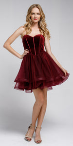 Image of Strapless Short Babydoll Prom Dress in Burgundy