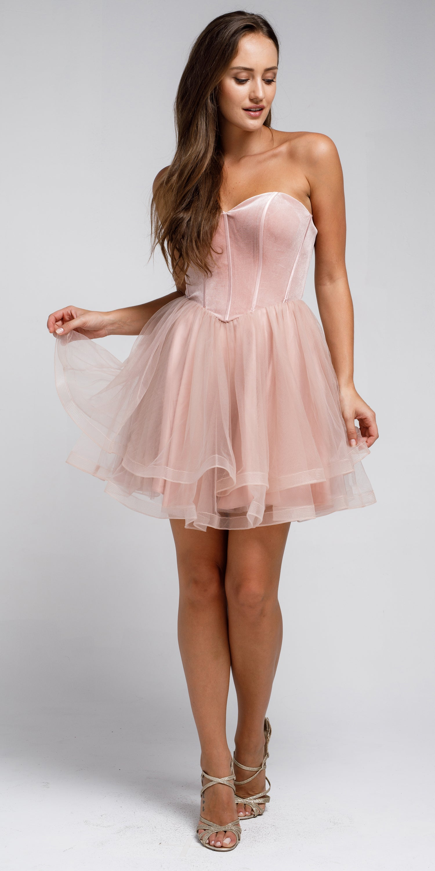 Main image of Strapless Short Babydoll Prom Dress