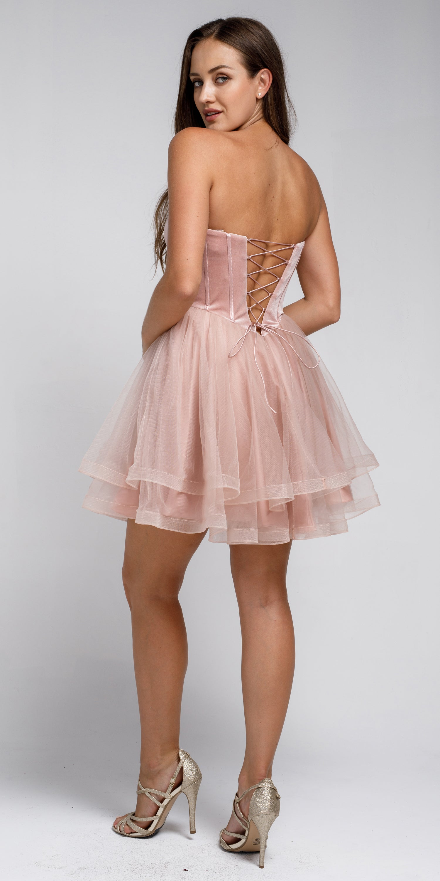 Back image of Strapless Short Babydoll Prom Dress