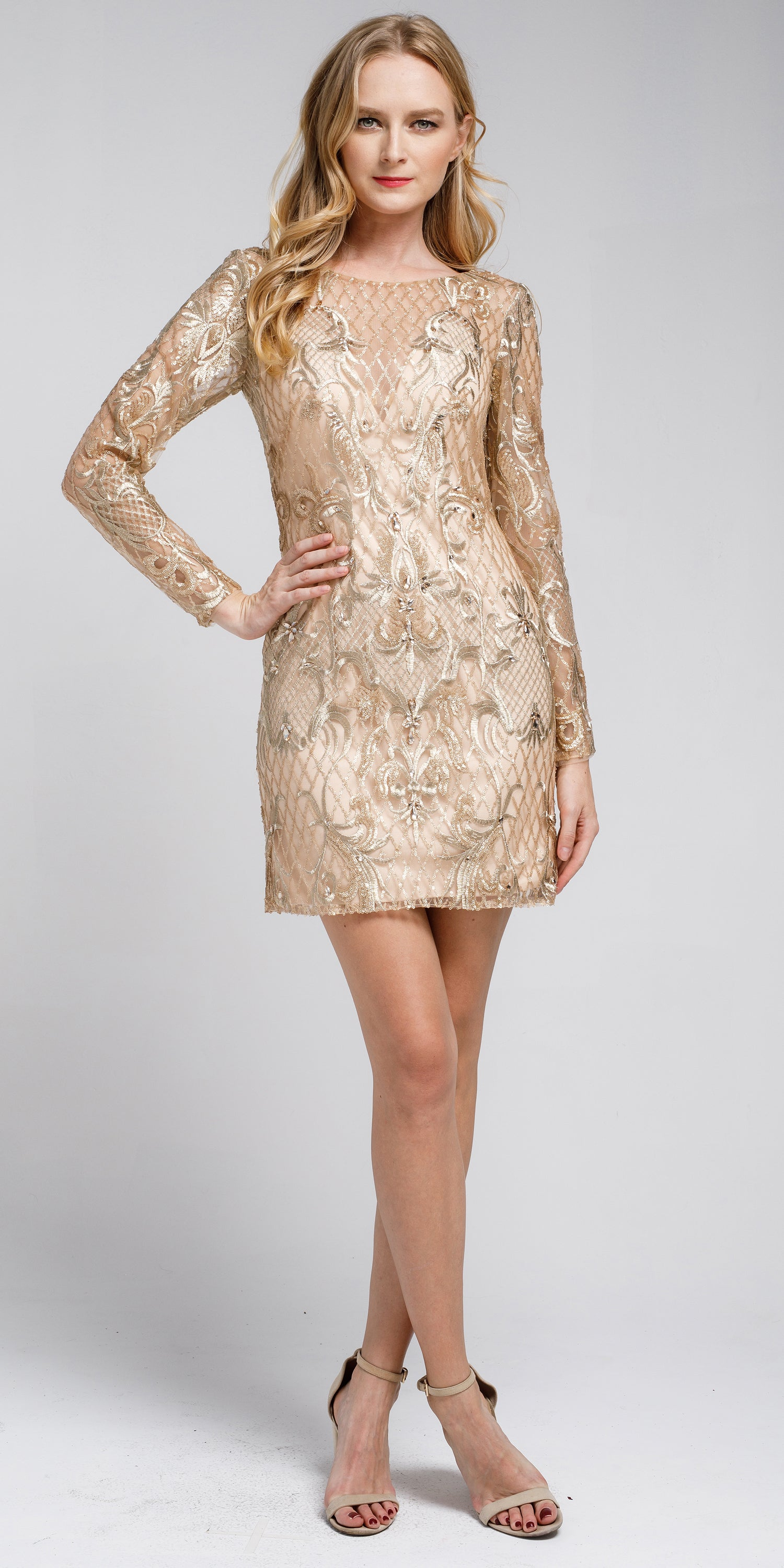 Main image of Embellished Full Sleeve Prom Dress