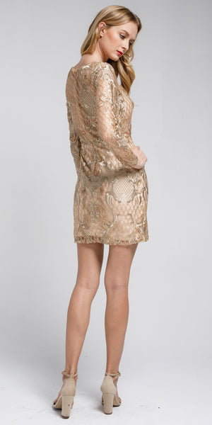 Back image of Embellished Full Sleeve Prom Dress