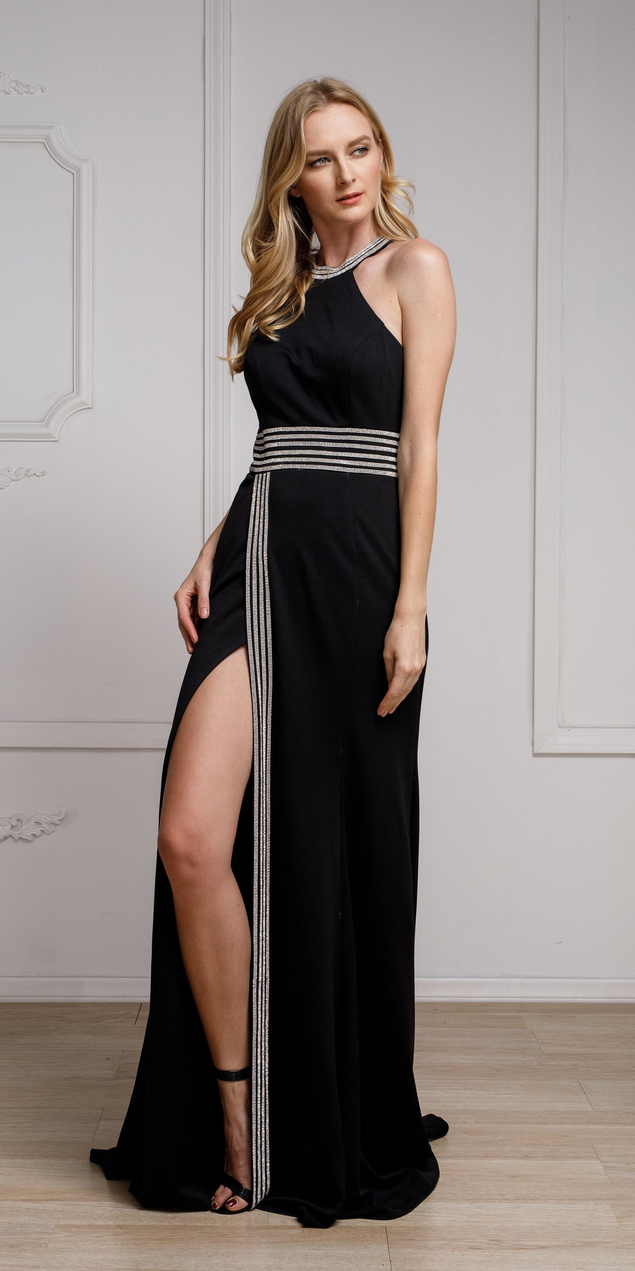 Main image of Halter Neck Formal Prom Gown With Front Slit