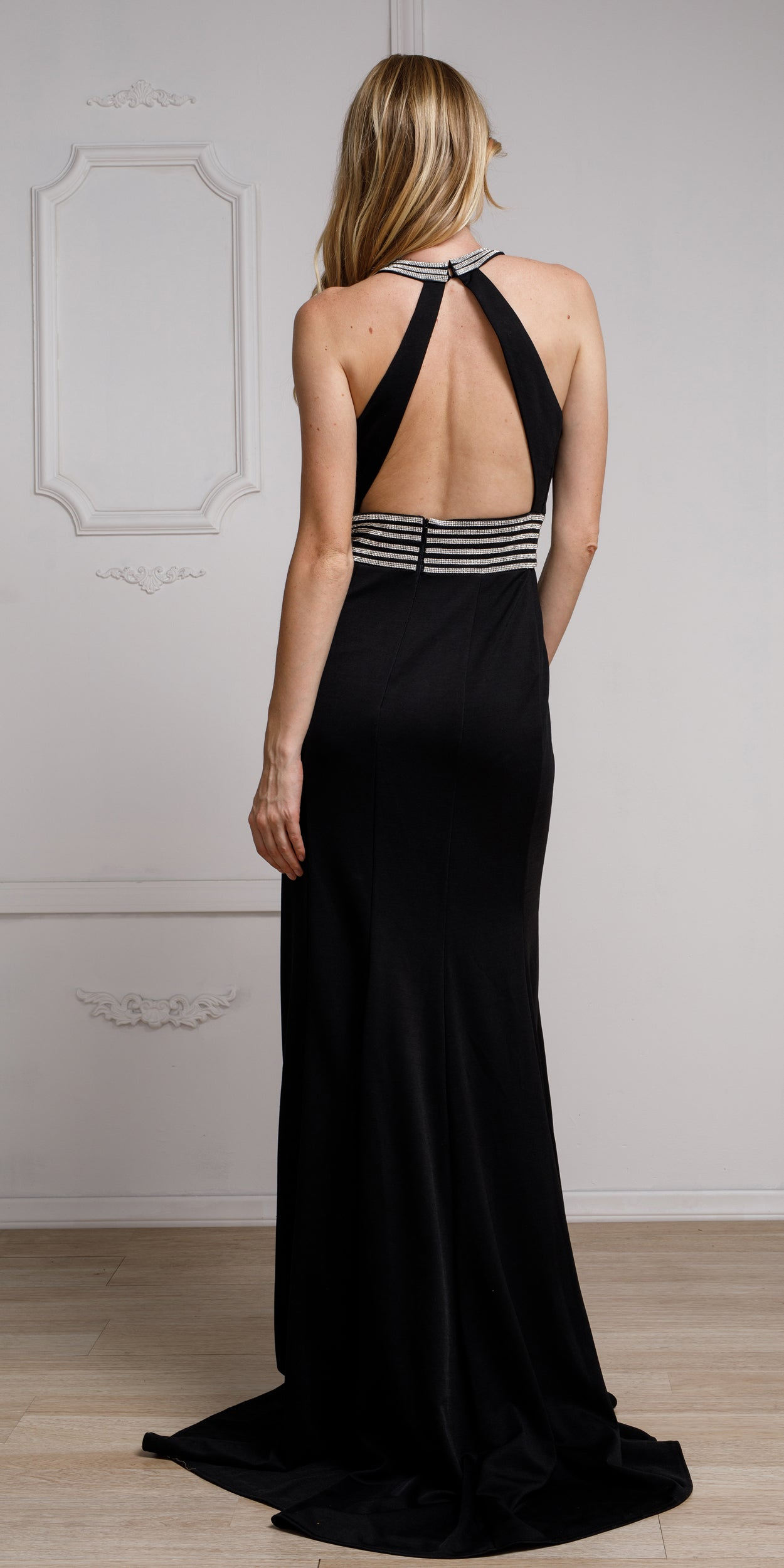Back image of Halter Neck Formal Prom Gown With Front Slit
