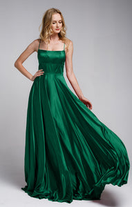 Image of A-line Spaghetti Prom Gown With Long Flowing Skirt in Emerald Green