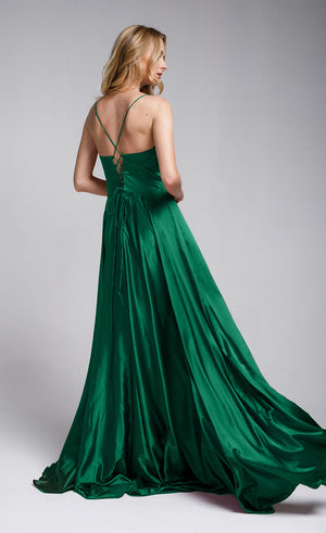 Image of A-line Spaghetti Prom Gown With Long Flowing Skirt back in Green
