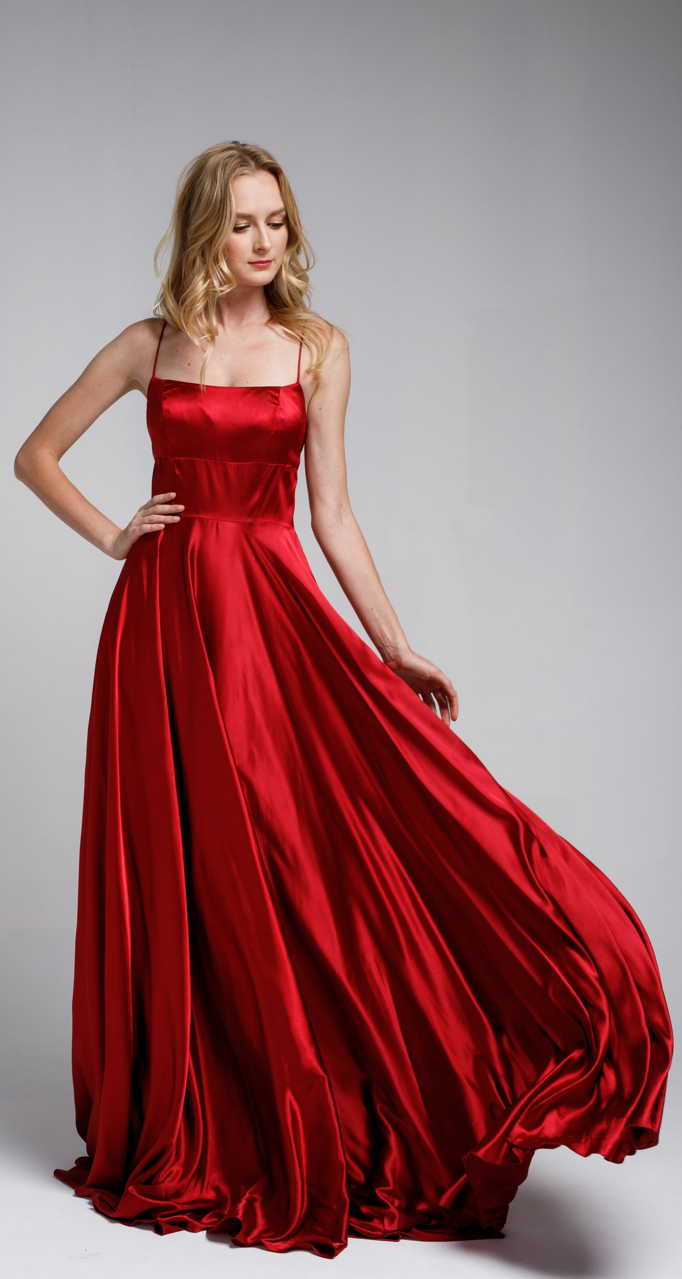 Main image of A-line Spaghetti Prom Gown With Long Flowing Skirt