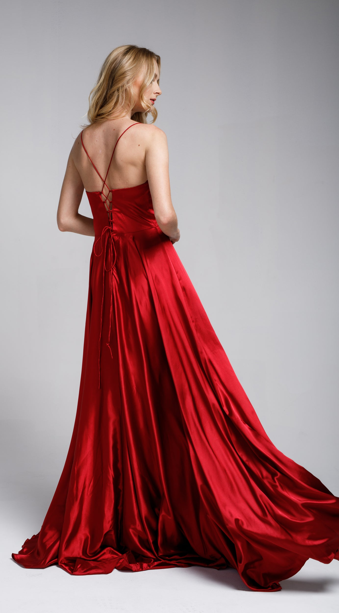 Back image of A-line Spaghetti Prom Gown With Long Flowing Skirt