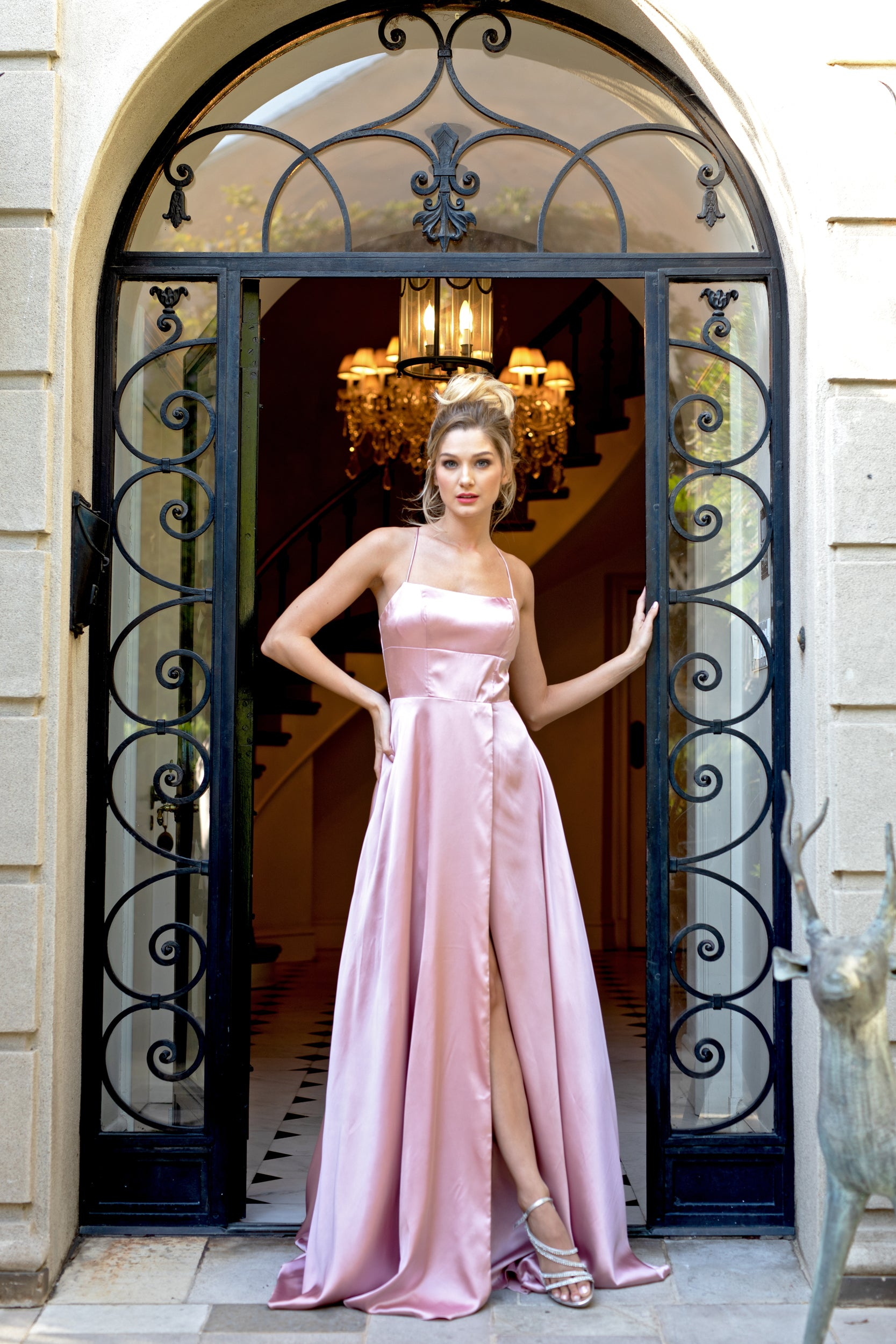 Image of A-line Spaghetti Prom Gown With Long Flowing Skirt in Rose