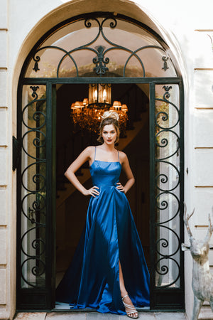 Image of A-line Spaghetti Prom Gown With Long Flowing Skirt in Royal Blue