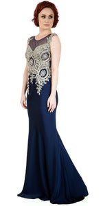Main image of Boat Neck Fully Embroidered Bodice Long Formal Prom Dress