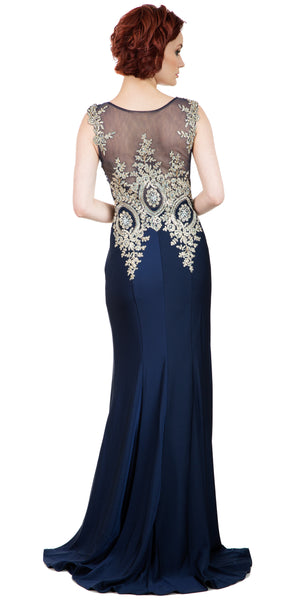 Back image of Boat Neck Fully Embroidered Bodice Long Formal Prom Dress