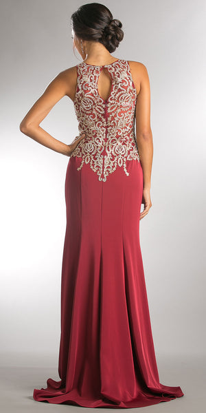 Back image of Exquisite Lace Bodice Long Formal Evening Dress